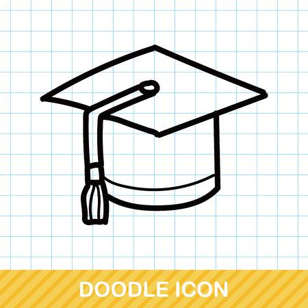 children education: graduation cap color doodle