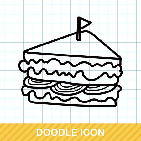 sandwich restaurant: sandwich doodle Illustration