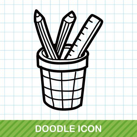 children education: pen and pencil color doodle Illustration