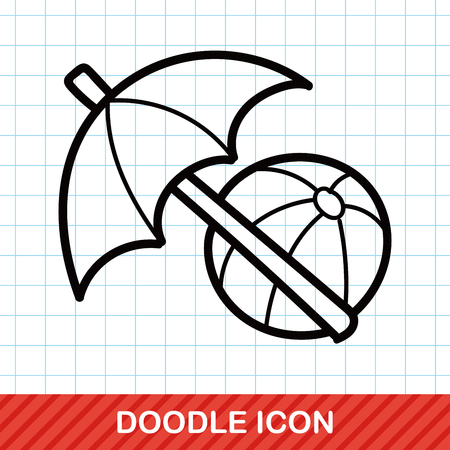 relax beach: umbrella and beach ball color doodle