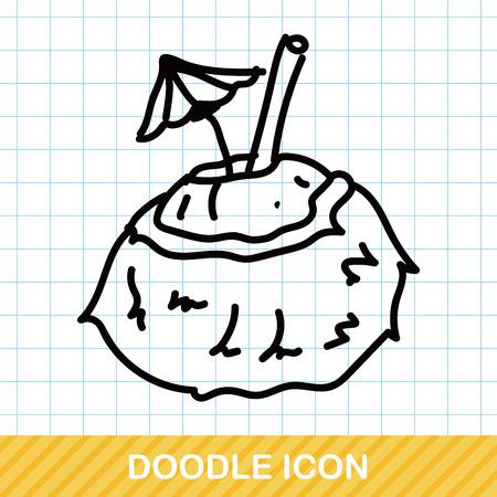 coconut drink: coconut drink color doodle Illustration