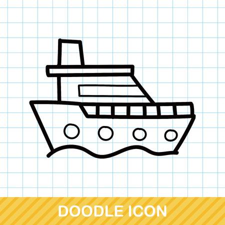 sailing ships: boat color doodle Illustration