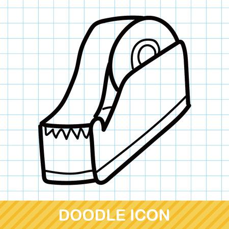 stationery background: Tape color doodle Illustration