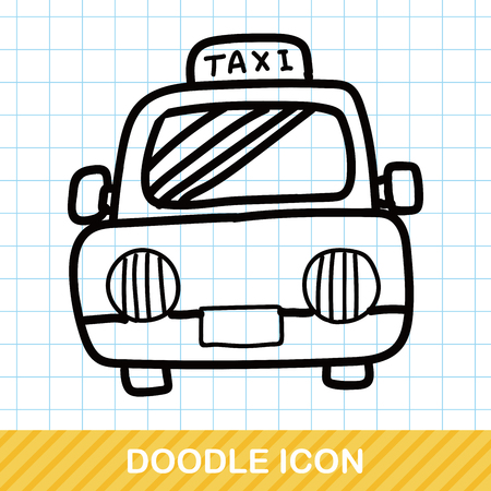 car driver: Taxi color doodle Illustration