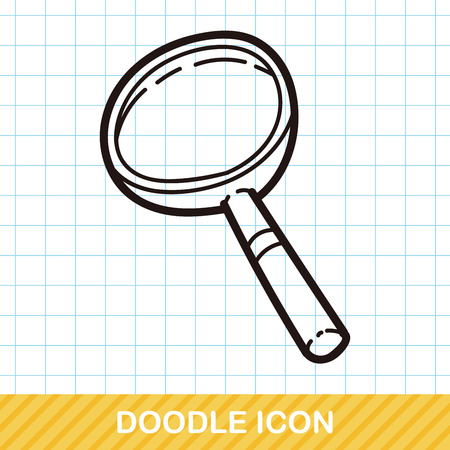 lowbrow: Magnifying glass color doodle Illustration