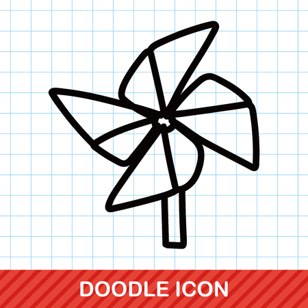 wind wheel: Windmill color doodle