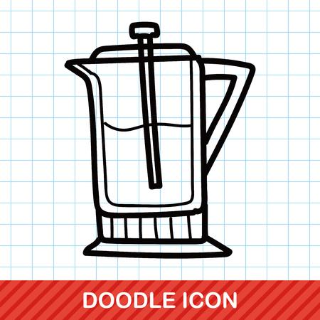 electric tea kettle: coffee kettle maker color doodle Illustration