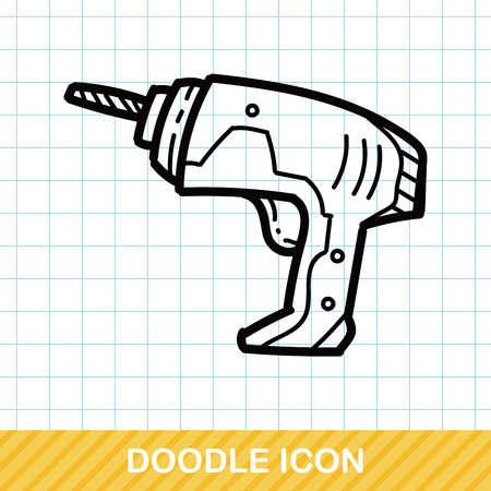 electric drill: Electric drill color doodle