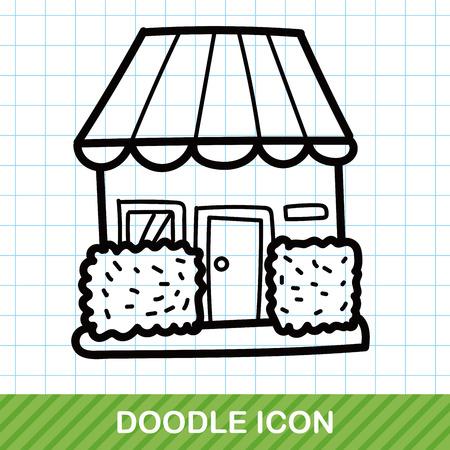 store: shop store color doodle Illustration