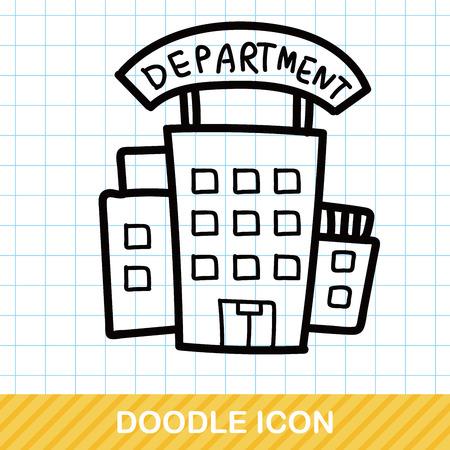 grandes almacenes del color del doodle Ilustración de vector
