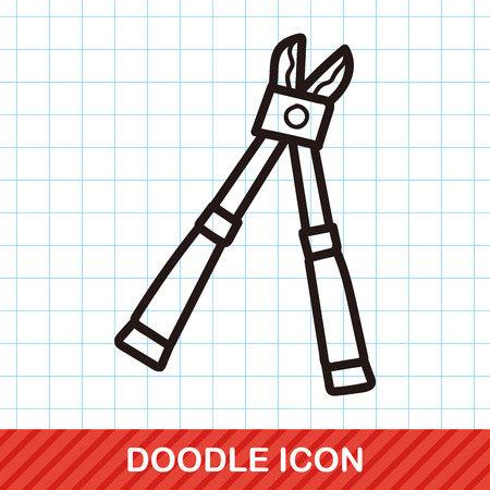 scissors icon: scissors color doodle Illustration