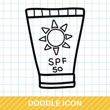 suntan cream: Sunscreen color doodle
