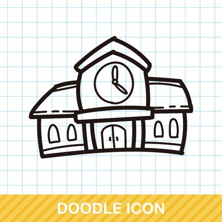 building color: school building color doodle