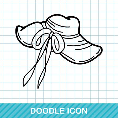 sun hat: sun hat doodle Illustration