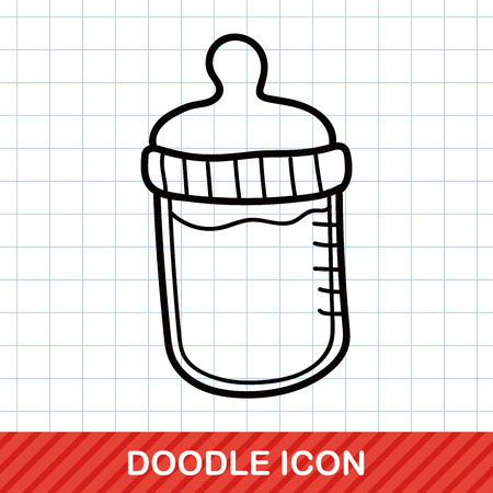 feeding bottle: Feeding bottle doodle Illustration