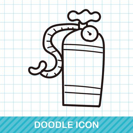 cilindro: oxígeno cilindro color del doodle Vectores