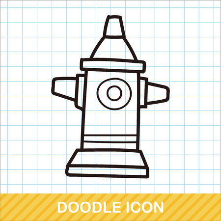 borne fontaine: Feu doodle couleur de bouche Illustration