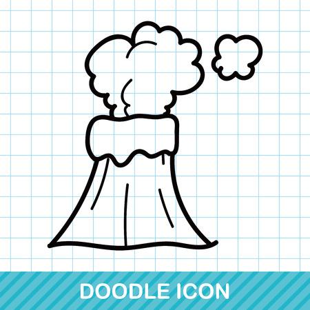 erupt: volcano doodle Illustration