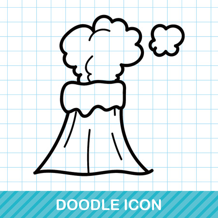 volcano mountain erupting: volcano doodle Illustration