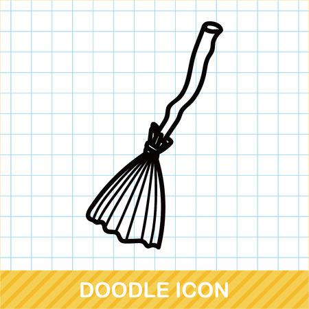 escoba: doodle de escoba Vectores