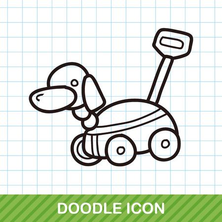 junkyard: toy dog car doodle Illustration