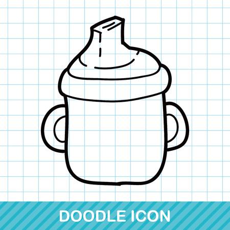 bottle feeding: Feeding bottle doodle Illustration