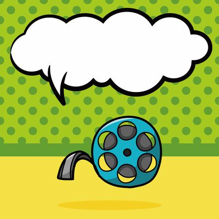 vcr: film tape doodle, speech bubble Illustration