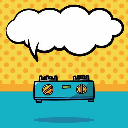 stoves: Gas stoves color doodle, speech bubble