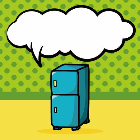 réfrigérateur couleur doodle, bulle de la parole