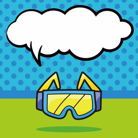 goggle: Goggle color doodle, speech bubble