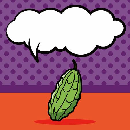 bitter: vegetable Bitter melon color doodle, speech bubble