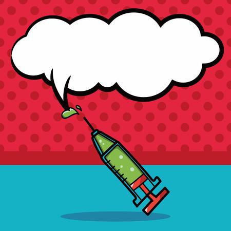 Syringes color doodle, speech bubble Stock Illustratie