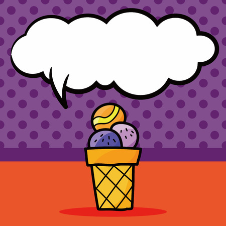 cream color: ice cream color doodle, speech bubble Illustration