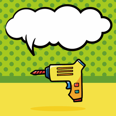 electric drill: Electric drill color doodle, speech bubble