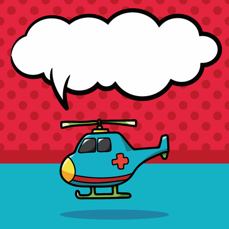 helicopter rescue: medical helicopter color doodle, speech bubble Illustration