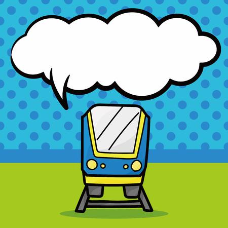 motor de carro: tren de color garabato, la burbuja del discurso