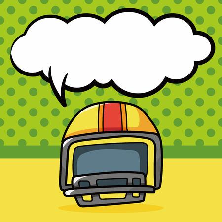 concussion: football helmet doodle, speech bubble