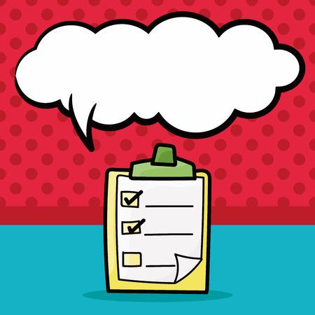 background check: check list color doodle, speech bubble