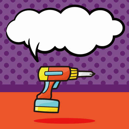 lowbrow: Electric drill color doodle, speech bubble