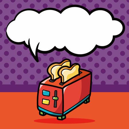 Toaster color doodle, speech bubble Illustration