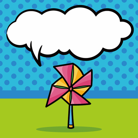 wind mill toy: Windmill color doodle, speech bubble