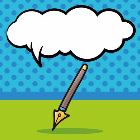 pen and paper: pen and pencil color doodle, speech bubble