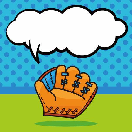 guante beisbol: Guante de b�isbol garabato, la burbuja del discurso Vectores