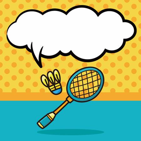 badminton sport symbol: badminton doodle, speech bubble Illustration