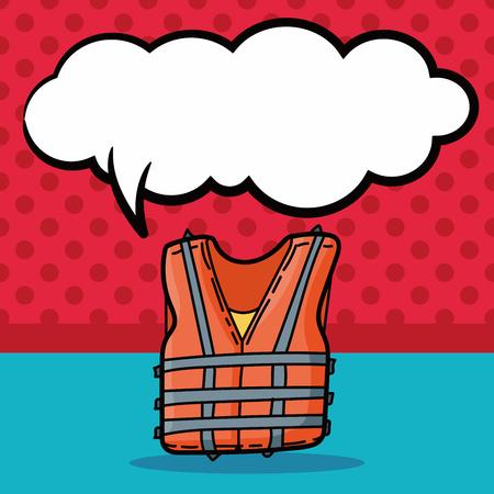 life jacket: Life jacket color doodle, speech bubble