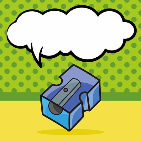 sharpener: Pencil sharpener color doodle, speech bubble Illustration