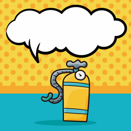 compressed air: oxygen cylinder color doodle, speech bubble