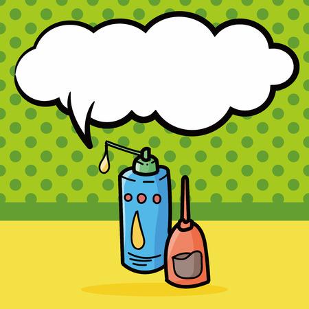 machine oil: machine oil color doodle, speech bubble Illustration