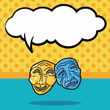 opera: opera mask doodle, speech bubble Illustration