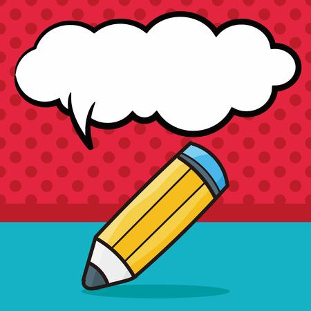school computer: pen and pencil color doodle, speech bubble